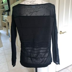 Partial See Through Long Sleeve Black Sweater Top